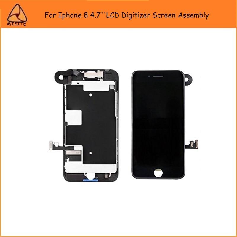 Lote de 5 unidades de montaje LCD i8 8G completo para Iphone 8 8G, montaje digitalizador LCD + cámara frontal Flex + auricular + LCD con placa trasera Flex