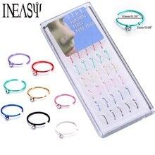 Mode Faux Nez anneaux 40 PC en acier inoxydable Nez ongles corps bijoux Nez Stud titane Septum Faux Piercing Nez pour les femmes