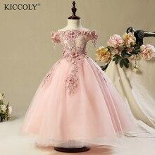 Robes de bal pour filles rose   À épaules dénudées, en Organza, à fleurs, robe de luxe