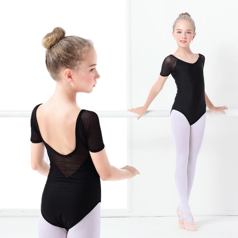 Niños negro baile leotardo chicas Ballet disfraz de malla de manga corta Bodi leotardos malla Ropa de baile
