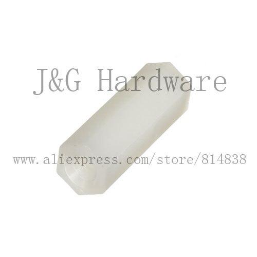 Wkooa M3 Spacer PCB Hex Nuts Nylon Standoff Pillar Female to Female Off-white