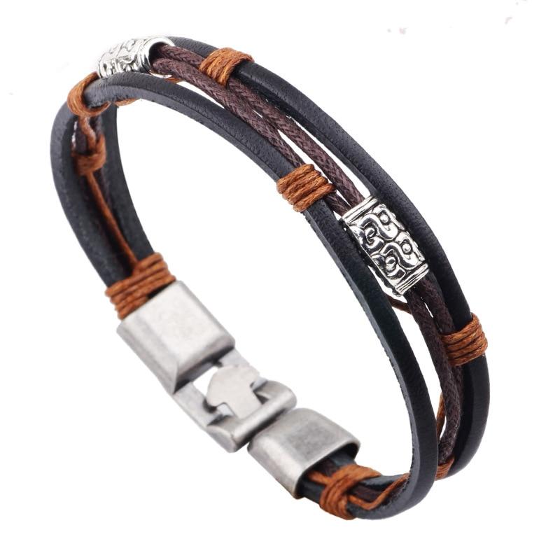 Fashion unisex jewelry Three layers retro leather cord jewelry wax line buckle Bracelet jewelry elegant lederen armband sieraden