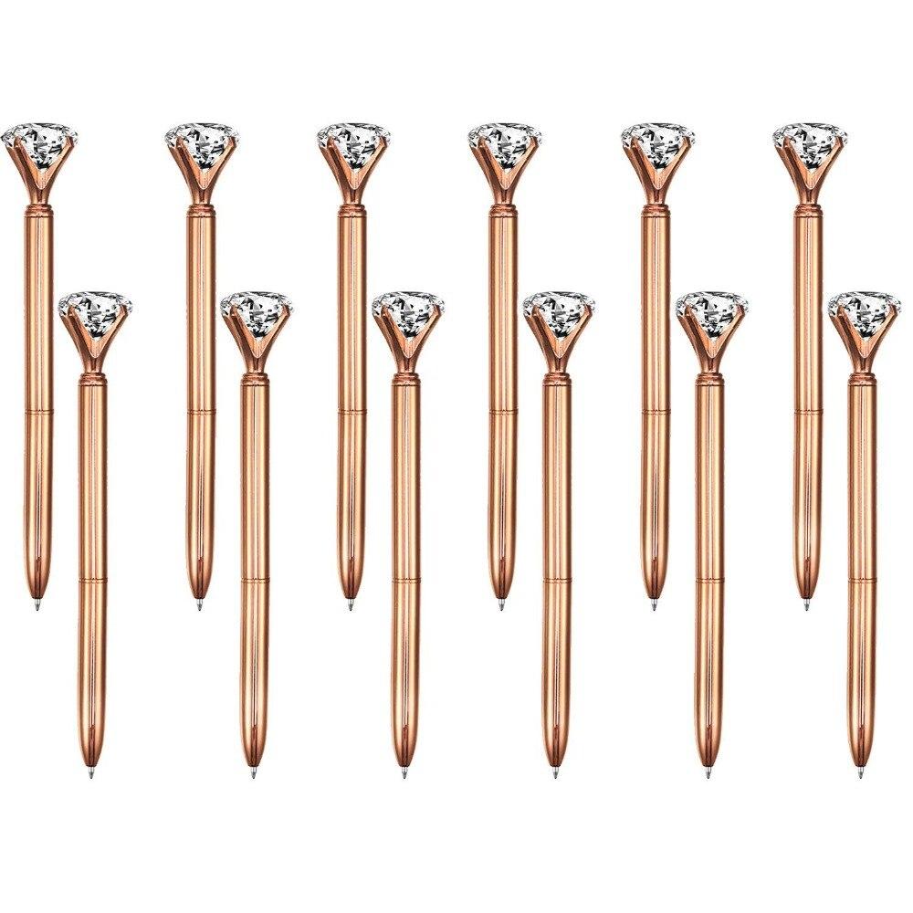 10 unidades gran diamante de cristal bolígrafo Metal bolígrafo tinta negra para bolígrafo anillo boda Oficina anillo de Metal bolígrafo oro rosa regalo