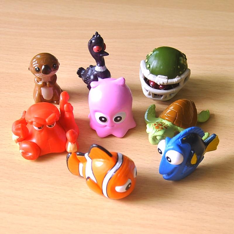 8 sztuk/partia 4cm Nemo Vinyl Doll ozdoby dla dzieci motoryzacja dekoracji pcv rysunek kolekcja Model Toy prezent