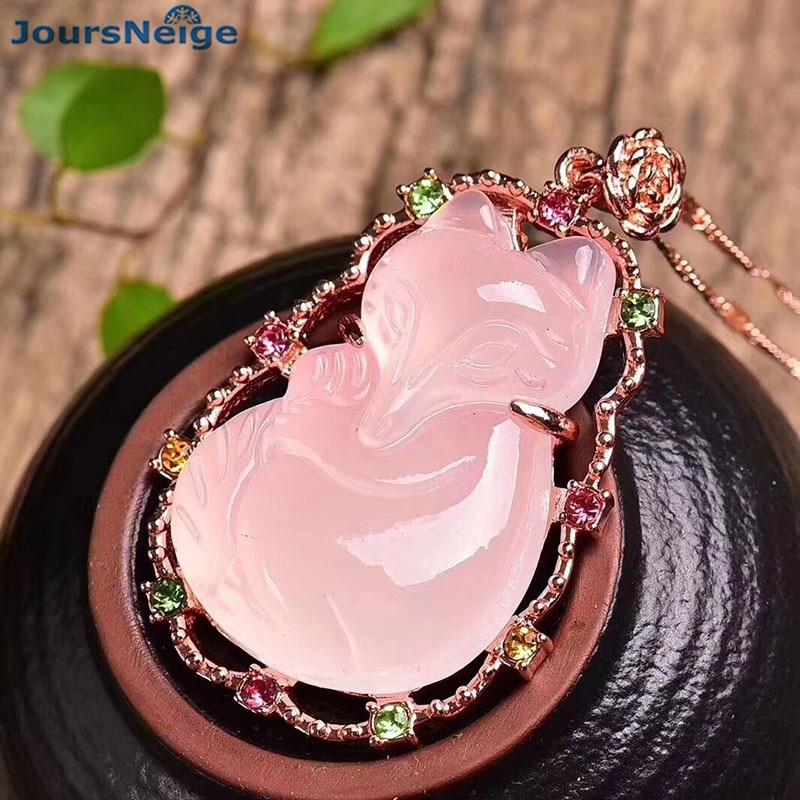 Прямая поставка, подвеска в виде лисы из натурального розового кристалла, Женская цепочка-ожерелье, модные украшения