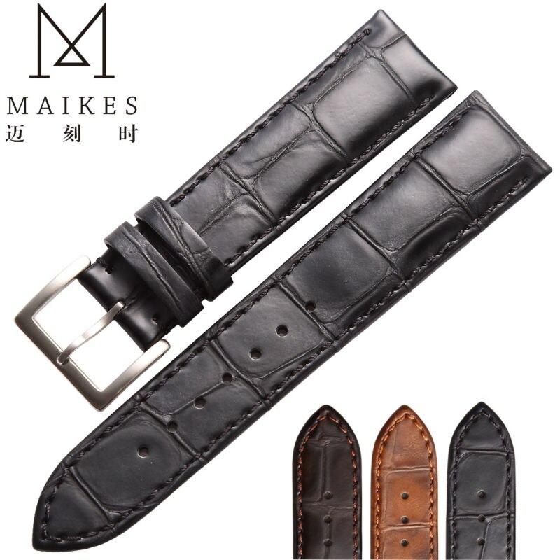 MAIKES, venta directa de fábrica, correa de reloj de cuero genuino marrón negro 18mm 20mm 22mm para daniel wellington