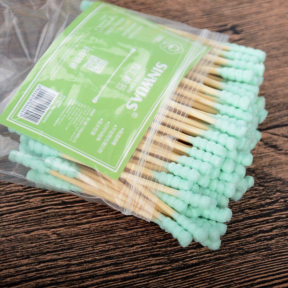 Микро Кисти 100 шт./компл., деревянные двойные щеточки для удаления хлопковых тампонов, детские одноразовые аппликаторы, тампоны для наращивания туши, кисти