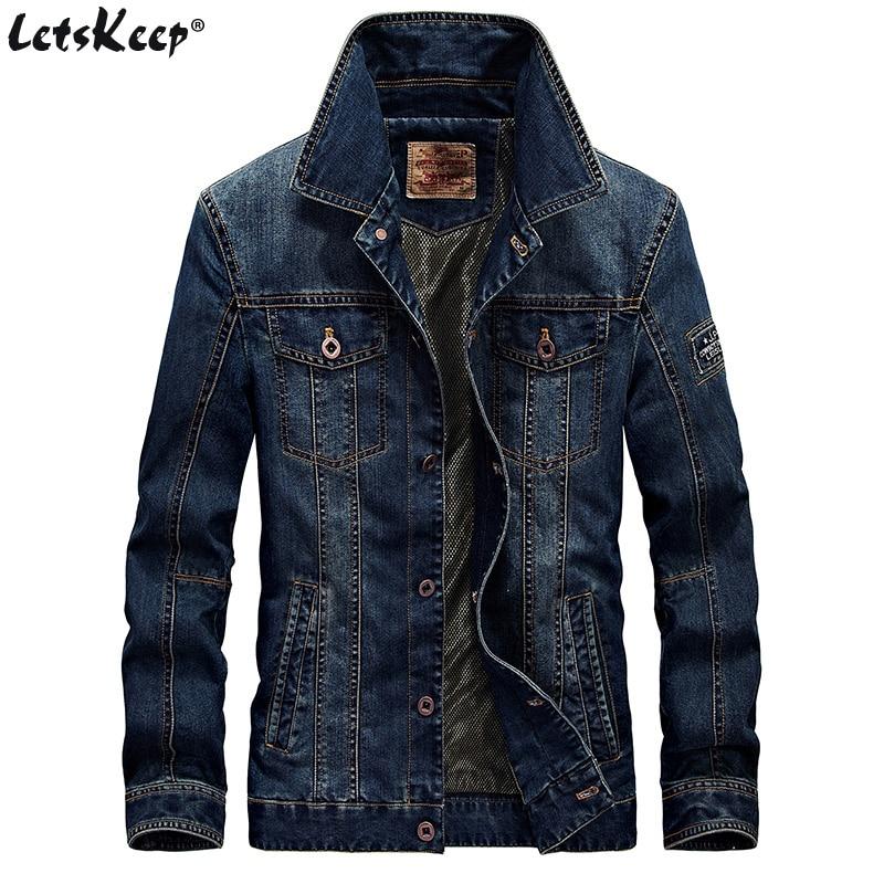 Мужская джинсовая куртка LetsKeep, Классическая винтажная куртка с отложным воротником, большие размеры, MA403