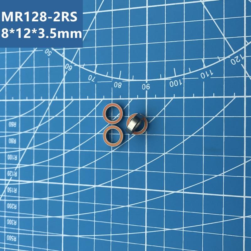 Free shipping high quality 10pcs MR128-2RS (Orange) 678-2RS MR128 678 deep groove ball bearing 8*12*3.5 mm miniature bearing