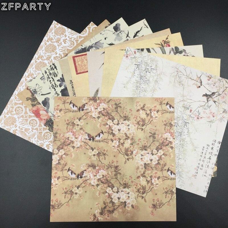 """ZFPARTY, 12 Uds. De papel impreso de una sola cara de 6 """", pintura de tinta china creativa, arte en papel hecho a mano, conjunto de álbum de recortes, libro"""