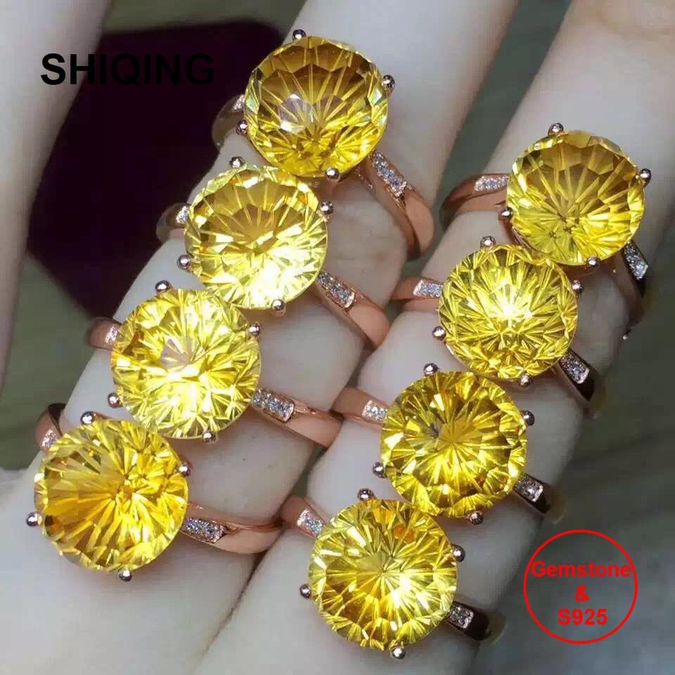 SHIQING VSS grado Brasil joyería fina natural real citrino S925 plata 12mm grandes anillos redondos de piedras preciosas para la boda