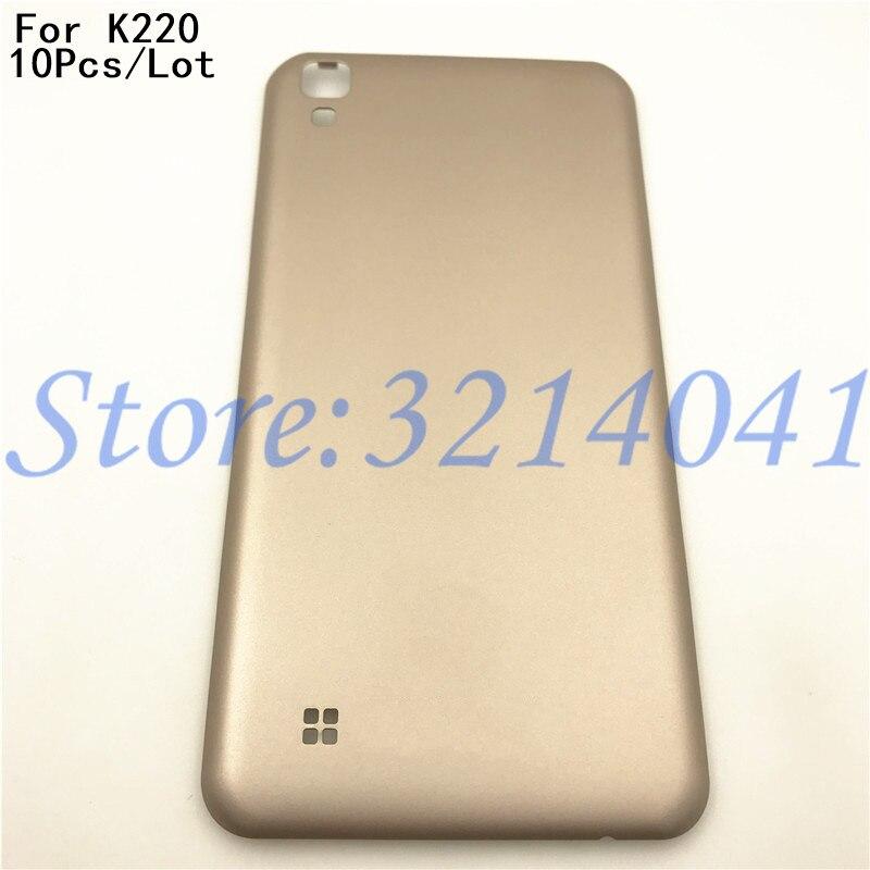 10 unids/lote 5,3 pulgadas cubierta trasera de la batería para LG X Power K220DS K220 cubierta trasera de la batería carcasa de la puerta trasera con Logo