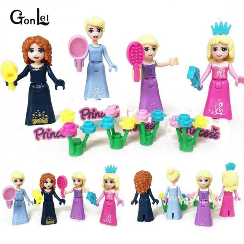 8Pcs/Set Girl friends Movie Princess Mermaid Elsa Anna Tinker Belle Building Blocks Figures Toys Compatible with Girls Friends