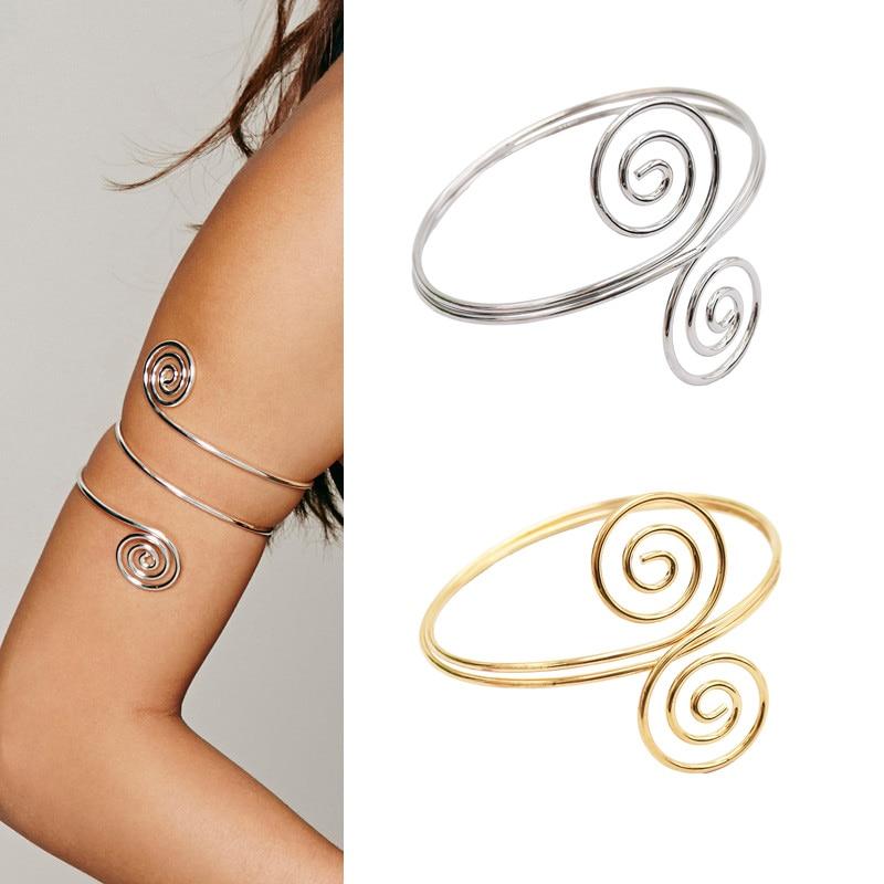 Punk bohemio Metal espiral remolino brazalete superior del brazo y brazalete ajustable brazalete gitano turco joyería