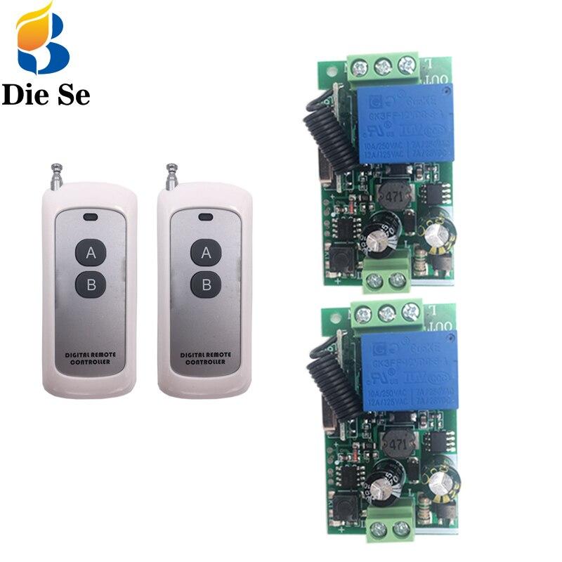 Interruptor de Control remoto Universal inalámbrico de 433MHz AC 100V 220V 10A 1CH receptor de relé rf y transmisores control de largo alcance de 500m