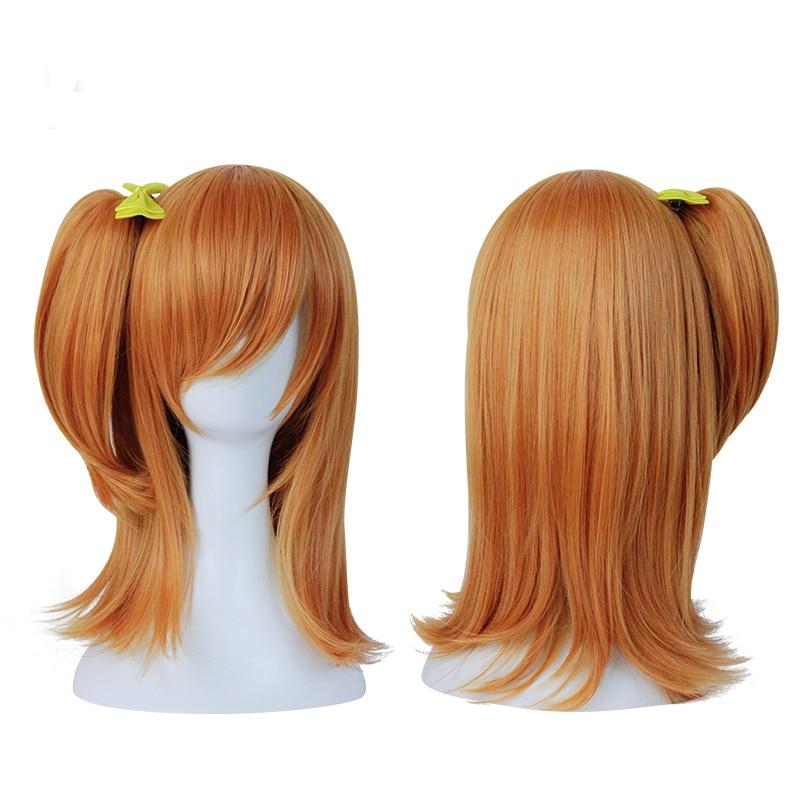 Anime Love Live! Kousaka Honoka Kosaka Laranja Resistente Ao Calor Do Cabelo Rabo de Cavalo Loiro Cosplay Peruca Curta + Arco Hairpin