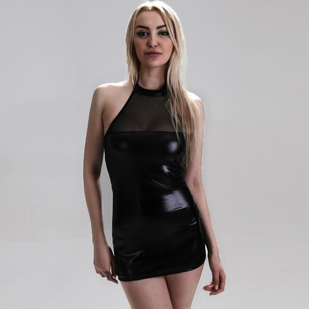 Ropa interior de moda para mujer, Body de cuero Artificial, lencería Sexy...
