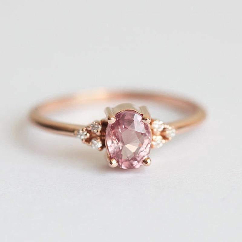 Moda mujer anéis para mulheres presente de casamento anéis rosa ouro rosa pedra anel de luxo jóias de cristal bague femme menina anillos z3q746