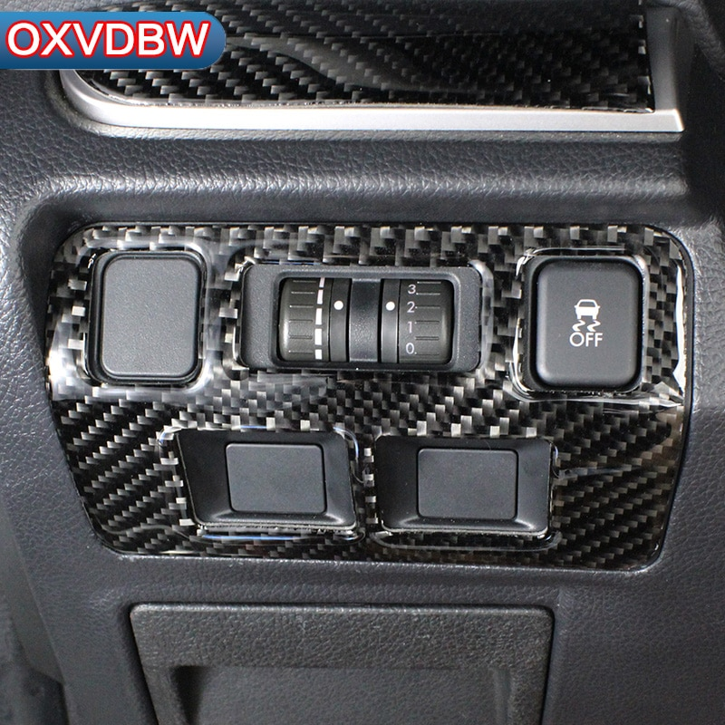 For Subaru Forester SJ accessories Headlight adjustment panel decorate carbon fiber automotive interior trim stickers 2014 2017