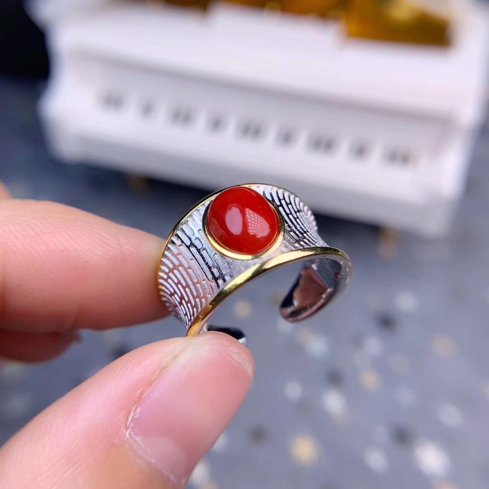 Precious Coral Gemstone Ring for Man  Fashion Jewelry