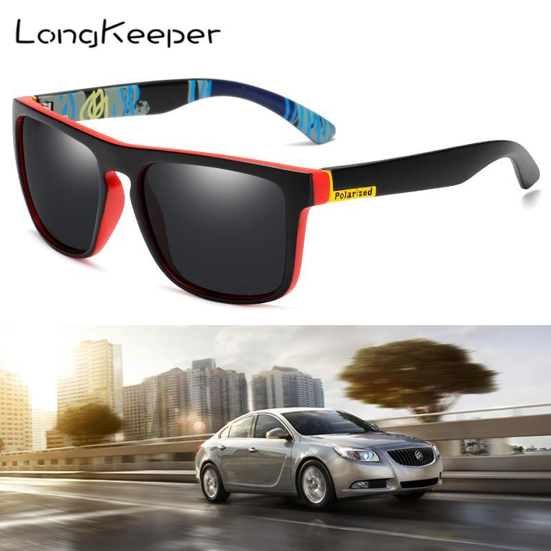 Longkeeper clássico polarizado óculos de sol dos homens moda espelho quadrado óculos de sol feminino esporte óculos para condução óculos de sol