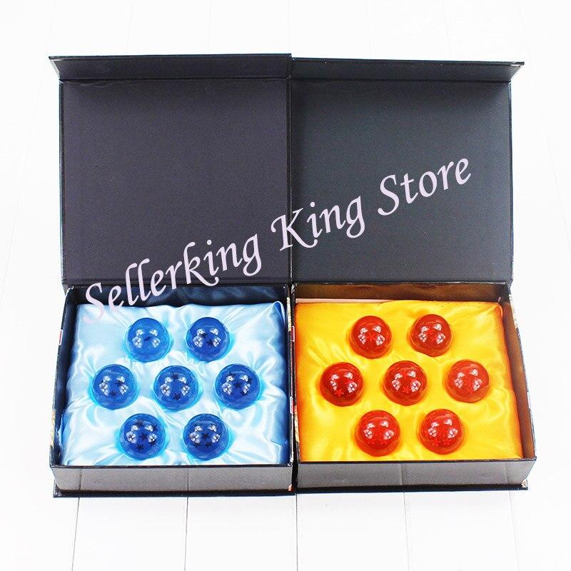 4 jogos/lote 3.5cm dbz dragon ball z shenron dragonball bola de cristal figura pvc brinquedos boneca 7 estrelas bolas azul/amarelo grande presente