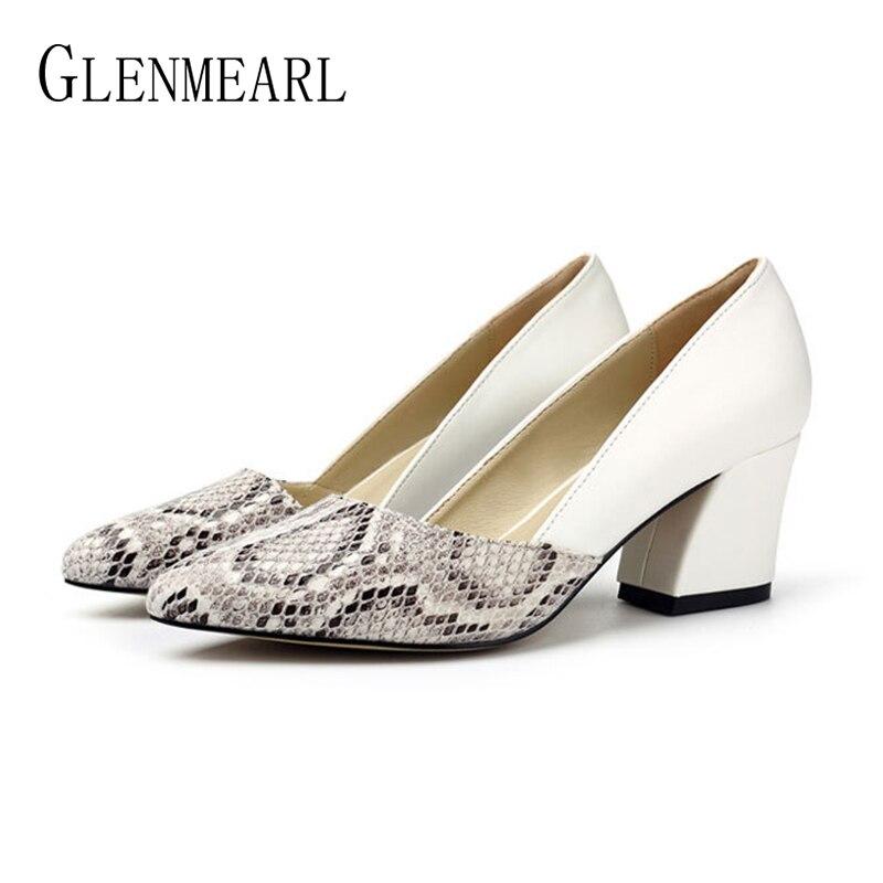 Zapatos de tacón alto para mujer, zapatos de tacón de punta estrecha para primavera y otoño, zapatos de plataforma de cuero suave para mujer, zapatos de oficina boda sexis para mujer