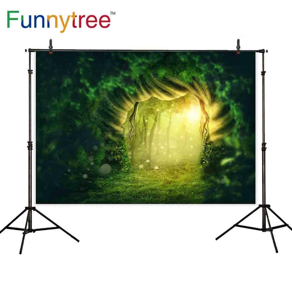 Funnytree photophone fotografía Fondo Verde bosque bokeh agujero del árbol pradera País de las Maravillas jungla fiesta telón de fondo photocall