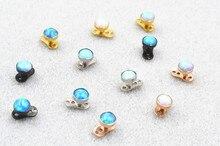 20 pièces opale pierre titane corps bijoux dermique ancre haut 4mm intérieurement fileté nouveau arrivé