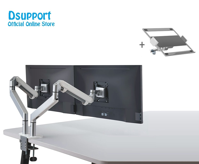 Dual use for Monitor Mount and laptop Desk Stand Fully Adjustable Monitor Holder Gas Spring Monitor Mounting for 17-32'' OZ-2S enlarge