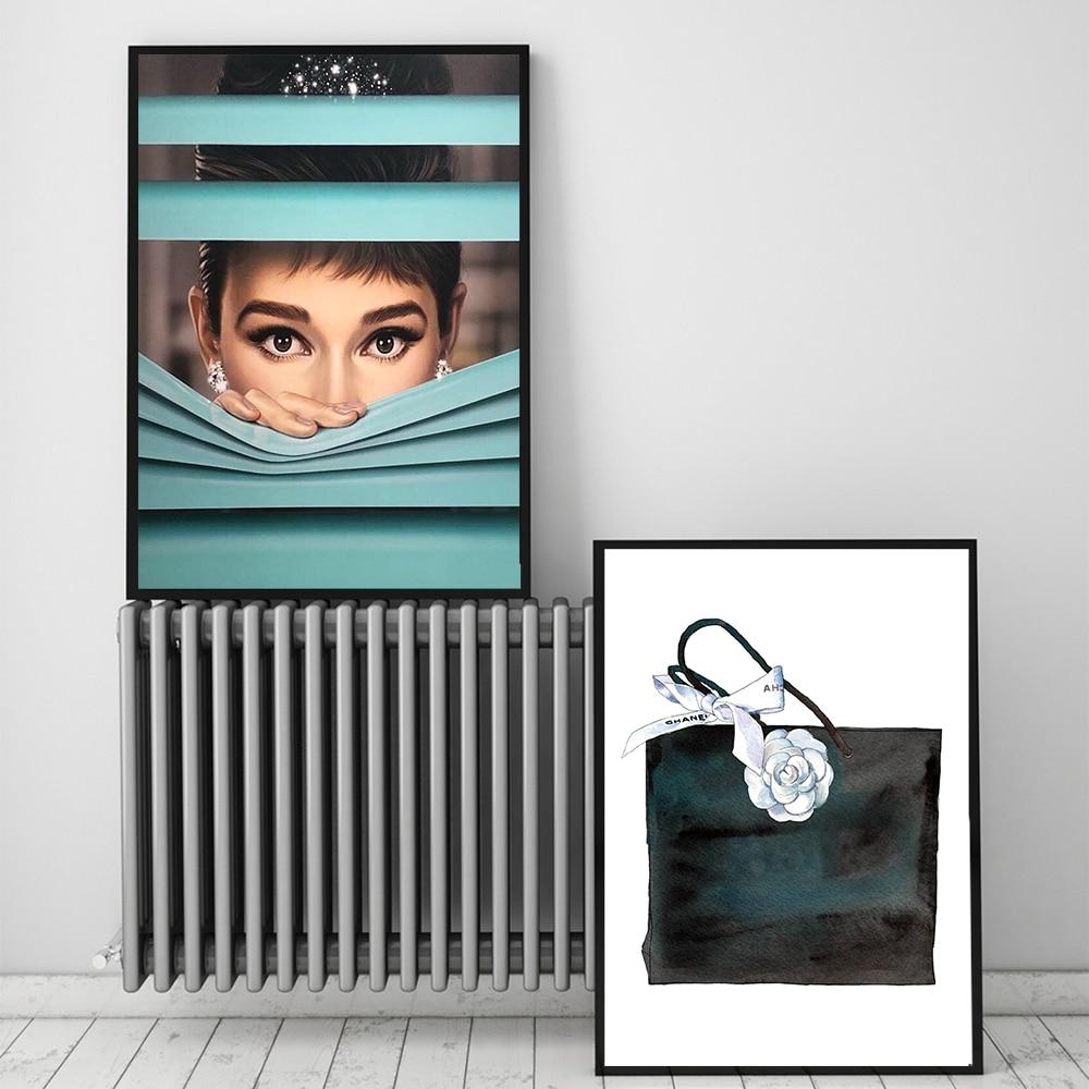 Cuadros de salón Audrey Hepburn con bolsas carteles e impresiones en lienzo pintura Sweet Girls arte de la pared imágenes impresas para la sala de estar