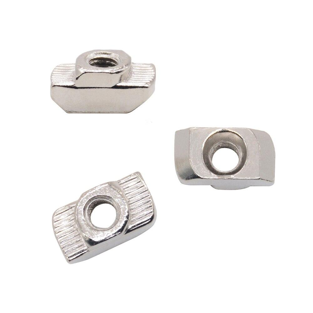 T тип гайки из углеродистой стали, алюминиевый разъем M4 M5 M6 M8 для европейского стандарта 4545, промышленный алюминиевый профиль для Kossel