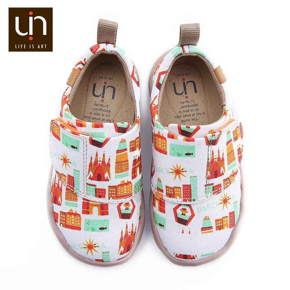 UIN Art City Design Little Kids Sneakers Easy Hoop & Loop Casual Shoes for Boys/Girls Fashion Flats enlarge