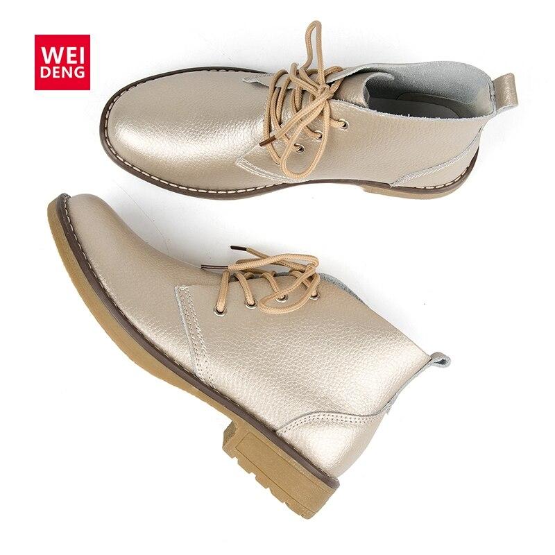 WeiDeng/ботильоны из натуральной кожи; Женская Классическая модная обувь на плоской подошве; зимняя обувь на шнуровке с высоким берцем; Повседневная Водонепроницаемая женская обувь