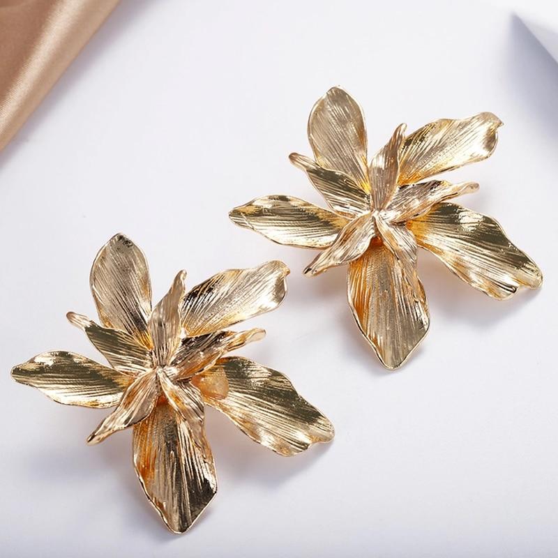 AENSOA venta al por mayor de Metal oro flor ZA grandes pendientes para las mujeres 2020 nueva llegada de moda pendientes llamativos bisutería para el regalo de las mujeres