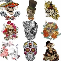 zotoone skull punk iron on transfer patches appliques for clothing t shirt fusible patch thermo stickers applications on clothes