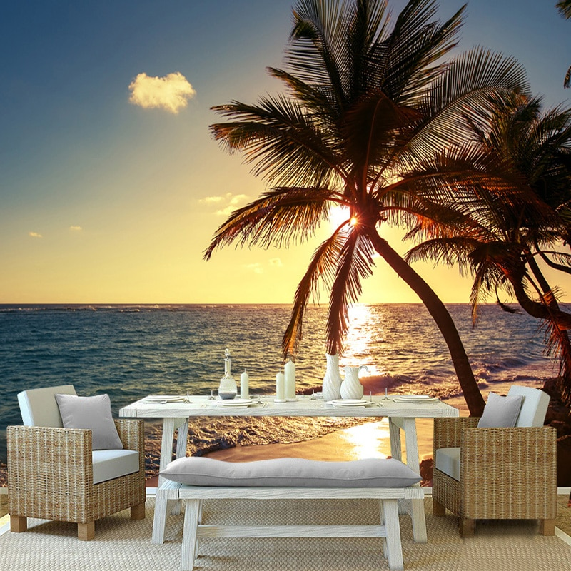 Papel pintado personalizado 3D Mural foto playa atardecer palma de coco paisaje de la playa pintura de pared restaurante café hogar Decoración de pared papeles