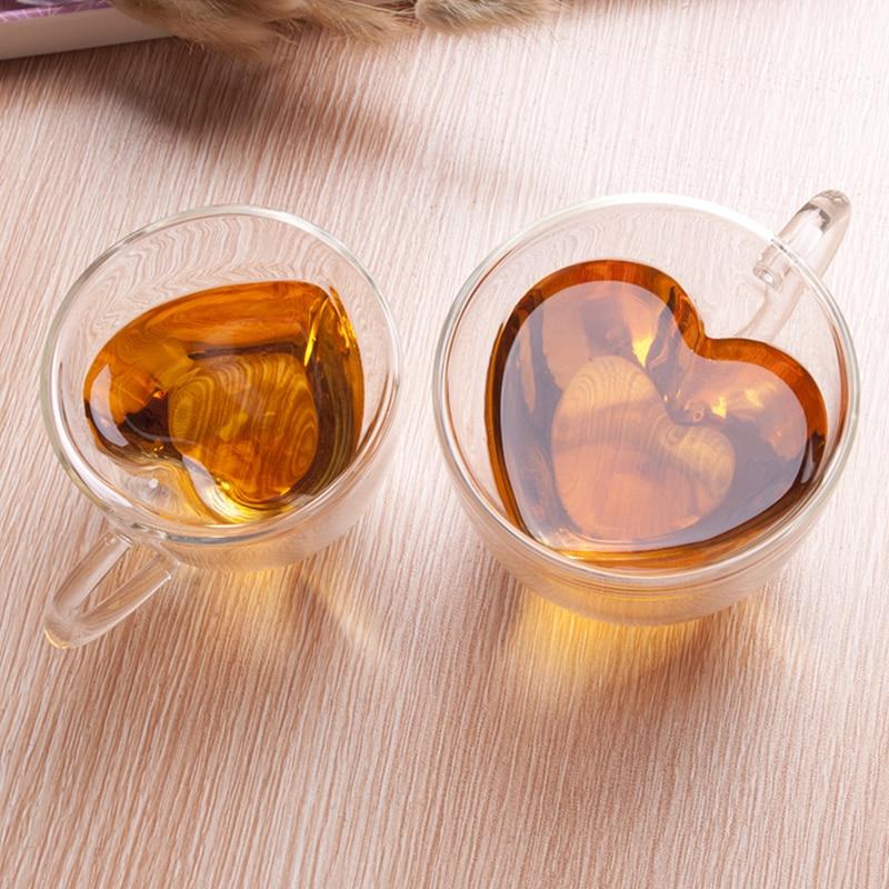 Стеклянная кружка в форме сердца, пара чашек, стеклянная чашка с двойными стенками, Термостойкие чашки для чая, пива, молока, кофе, чашка, под...