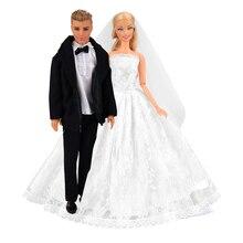 Mode jouets poupée accessoires princesse soirée fête longue queue robe tenue vêtements articles pour Barbie Ken poupées bricolage cadeau danniversaire