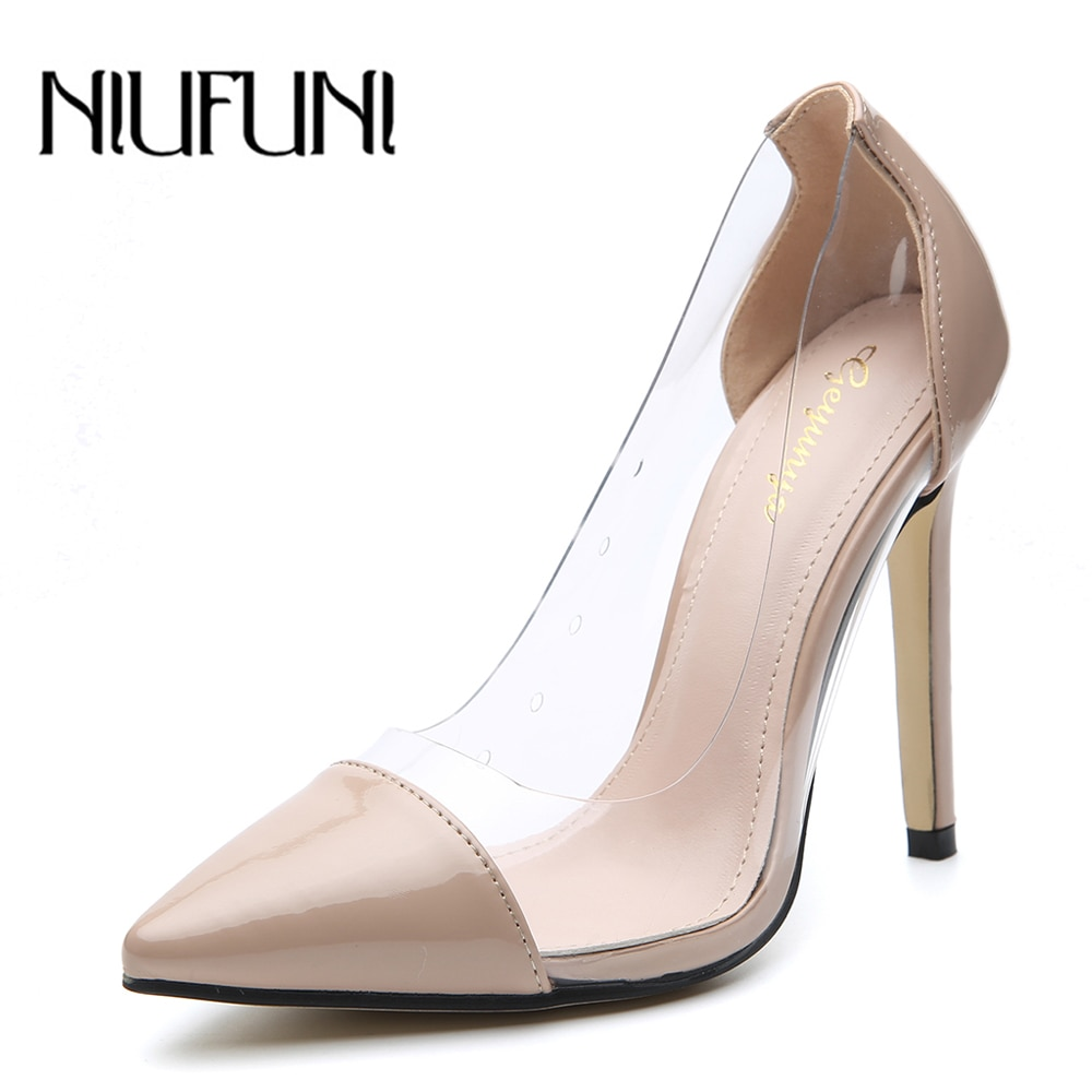 Pumps Women Shoes Transparent PVC Slip-On Shallow Wedding Party Thin Heels Pointed Toe Woman High Heels Pump New Autumn Shoes sexy v mouth slip on women casual office lady shoes 2020 spring new crystal pumps party shoes woman pointed toe spike high heels