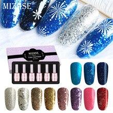 MIZHSE 18ml Glitter Nail Gel Polish Kits Esmalte Permanente Hybrid UV LED Nail Gel Polish Set  6pcs/lot Sequins Starry Varnish