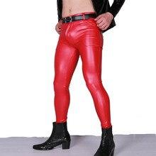 Elegante PU brillante cuero de imitación lápiz pantalones brillante pantalón para escenario ropa para gais de talla grande Sexy Fad hombres Color puro elástico pantalones ajustados