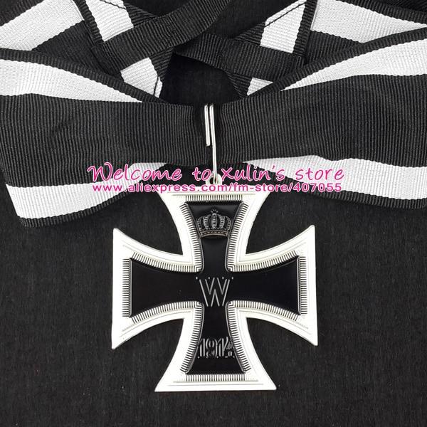 XDM0050 Império Alemão 1914 Grã-cruz da PRIMEIRA GUERRA MUNDIAL Cruz de Ferro com Fita Decoração Militar Deutschland Ordem Pescoço 62mm cruz