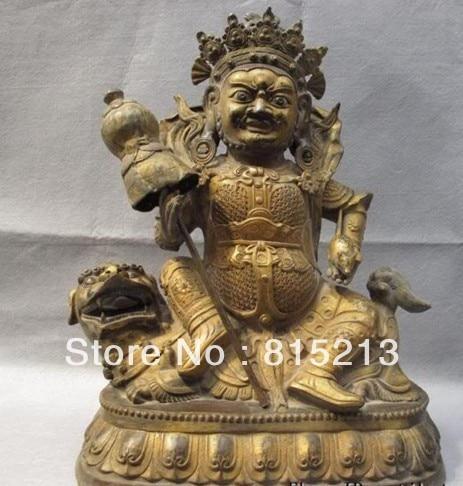 "Bi004092 19 ""Chino Budismo Bronce gild tallado León Zambala Vaishravana estatua de buda"