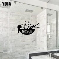 YOJA     autocollant de douche 18x28 9CM pour fille  Sticker de salle de bain a la mode  decoration murale pour la maison  G2-0334
