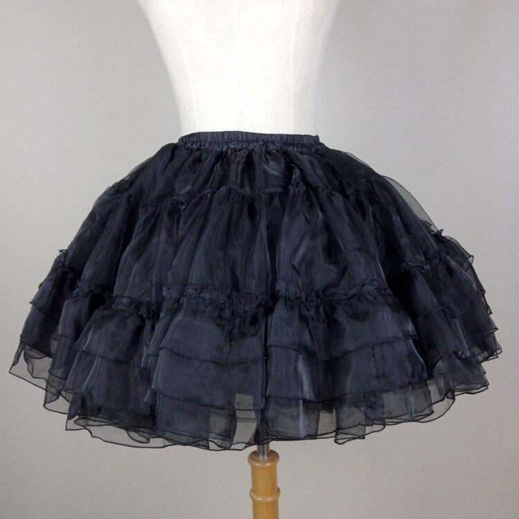 Ball Gown Underskirt Short Dress  Black And white Cosplay Petticoat Bones Lolita Petticoat Ballet Organza Crinoline 40 cm