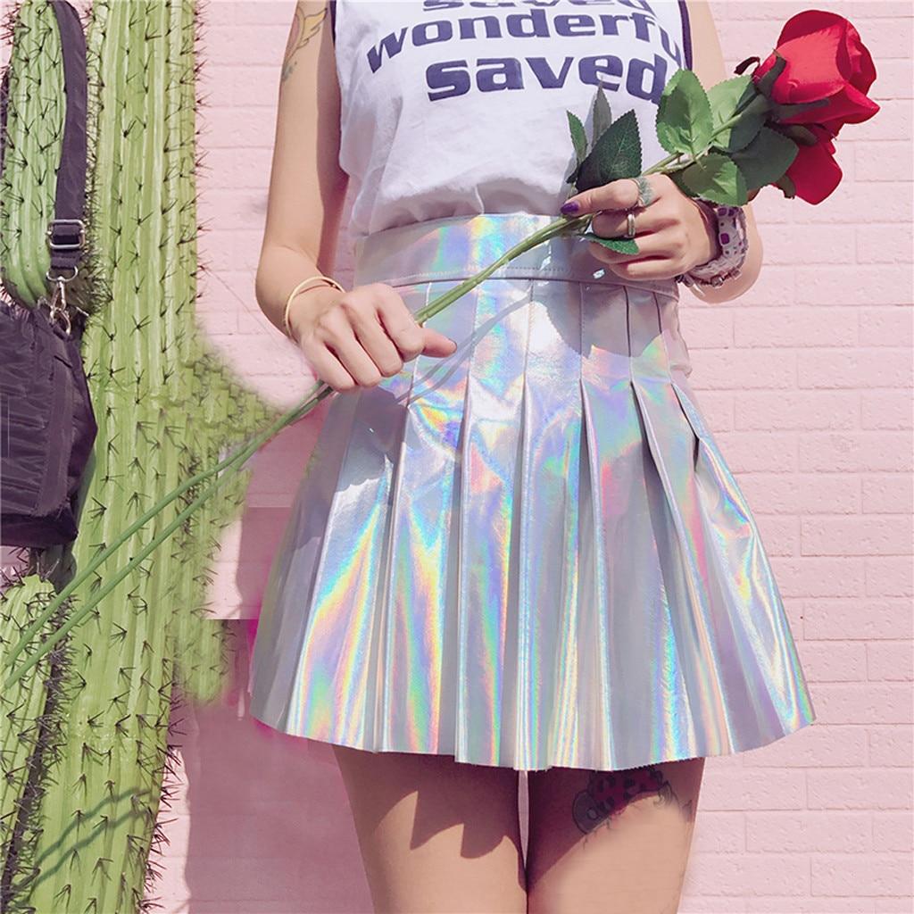 Faldas Explosion Edition Womens Glossy Short Skirt Solid Holographic Pleated Skirt Sexy High Waist Mini Skirt юбка женская 40*