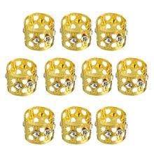 10pcs/lot 13mm Gold Rhinestone Hair Dread Braids Dreadlock Beads Crystal Adjustable Braid Cuffs Clip Hair Extension Tool