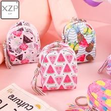 XZP Cartoon femmes filles Mini sac de monnaie chat fruits impression porte-monnaie clés portefeuille porte-cartes sacs dargent écouteurs paquet enfants cadeaux