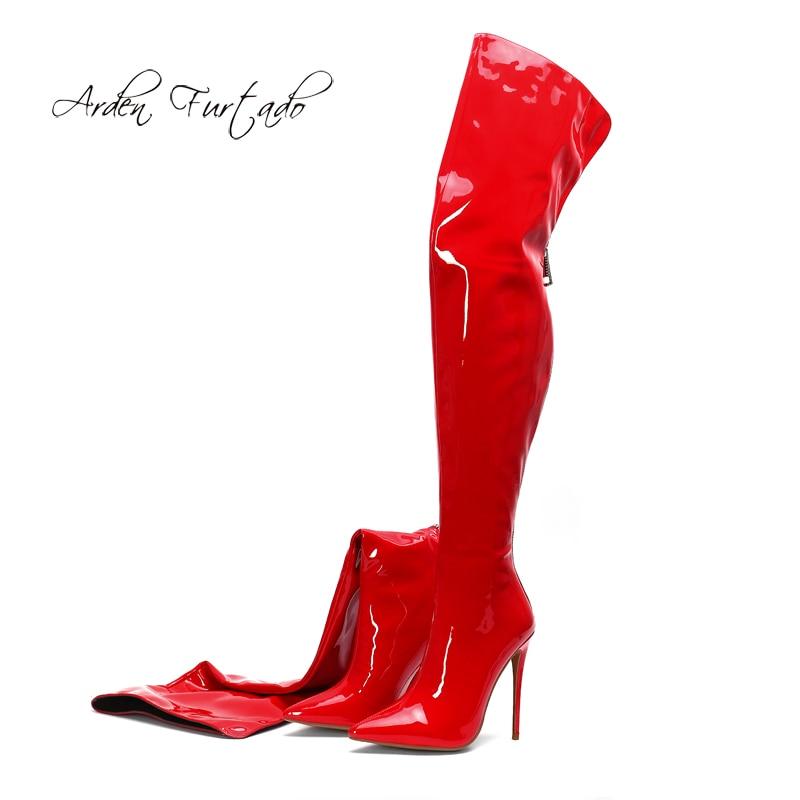 Primavera otoño puntiagudos 2019 tacones stilettos zapatos de mujer de moda blanco rojo sexy elegante cremallera señoras Sobre las botas de rodilla 43